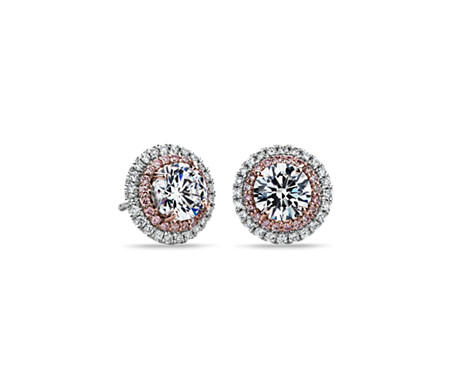 Pink and White Diamond Halos Round  Setting in Platinum & 18k Rose Gold