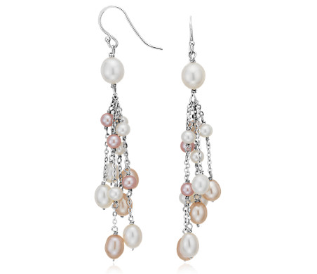 Pink and White Freshwater Cultured Pearl Earrings in