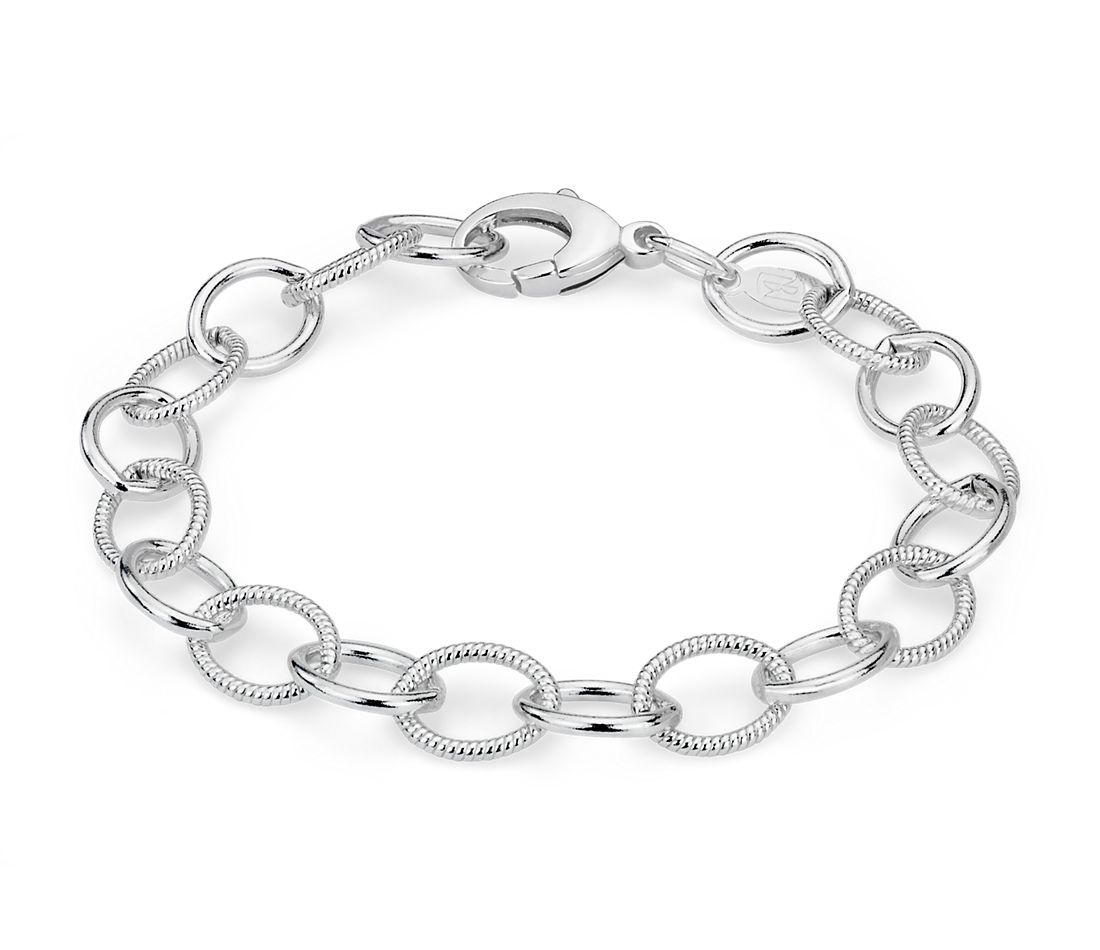 Plain and Pattern Chain Bracelet Large Links in Sterling Silver