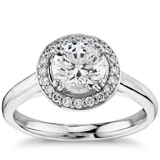 Plain Shank Halo Engagement Ring In Platinum Blue Nile