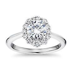 14k 白金刀锋式渐变椭圆形钻石光环订婚戒指(1/3 克拉总重量)