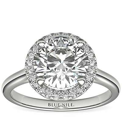 Plain Shank Floating Halo Engagement Ring in 14k White Gold