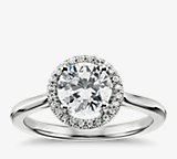 Plain Shank Floating Halo Engagement Ring