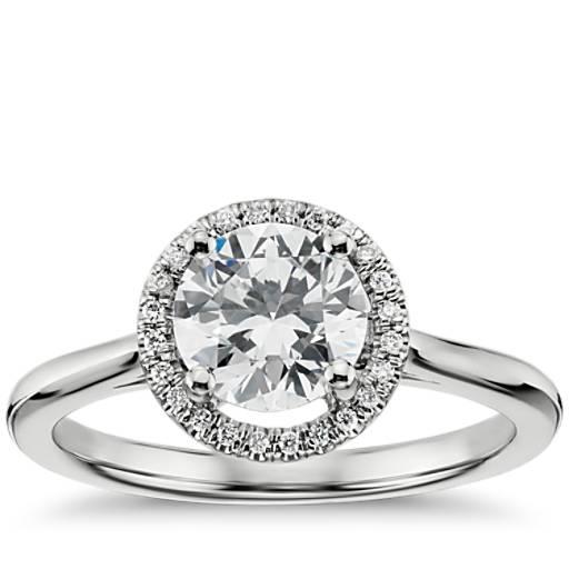 Plain Shank Floating Halo Engagement Ring In 14k White