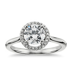 Plain Shank Floating Halo Engagement Ring in 14k White Gold (0.06 ct. tw.)