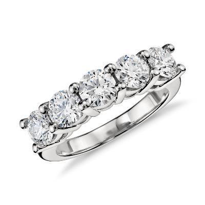 Blue Nile Signature Five Stone Diamond Ring in Platinum 2 ct tw