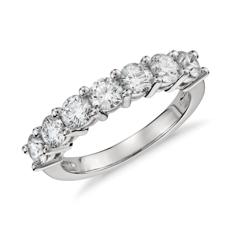Blue Nile Signature Seven Stone Diamond Ring in Platinum (1.50 ct