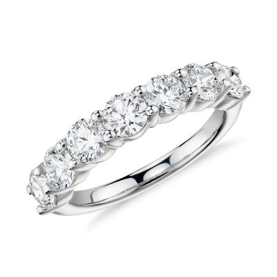 Blue Nile Signature Comfort Fit SevenStone Diamond Ring in Platinum