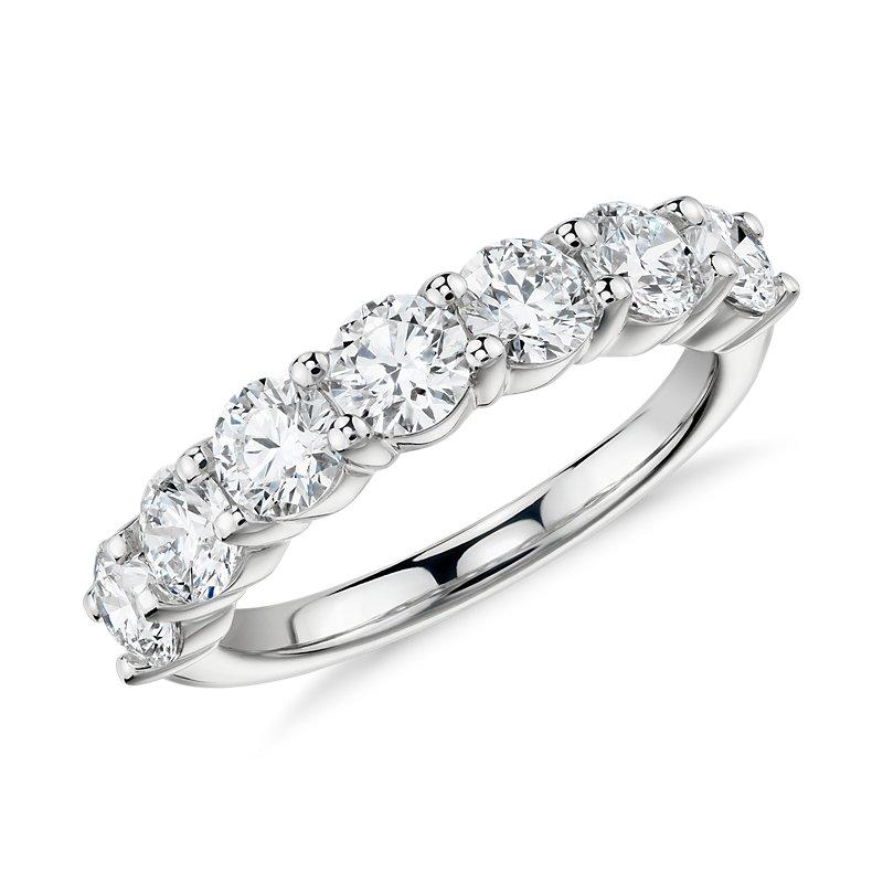 Blue Nile Signature Comfort Fit Seven-Stone Diamond Ring in Plati