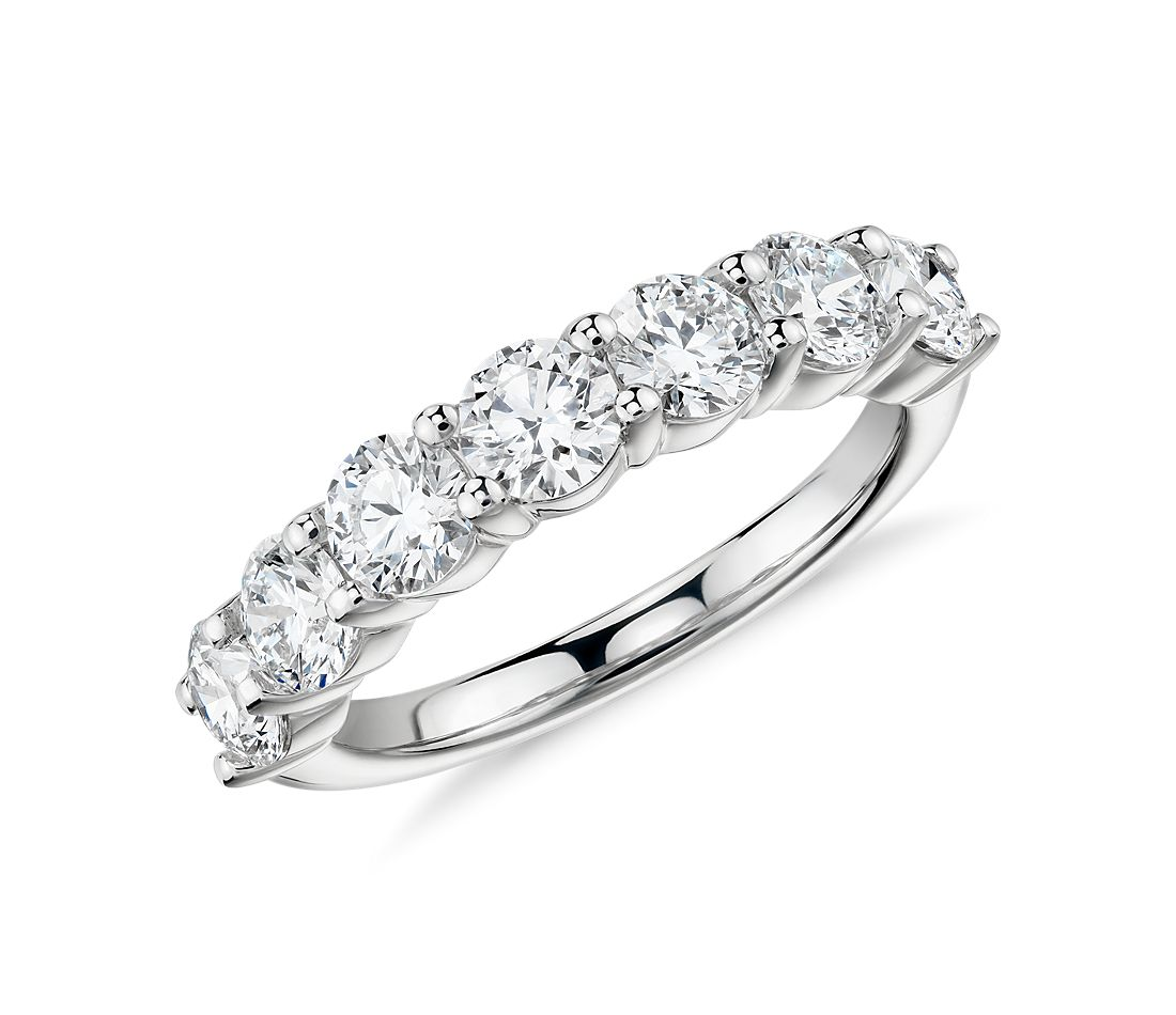Blue Nile Signature Comfort Fit Seven-Stone Diamond Ring in Platinum