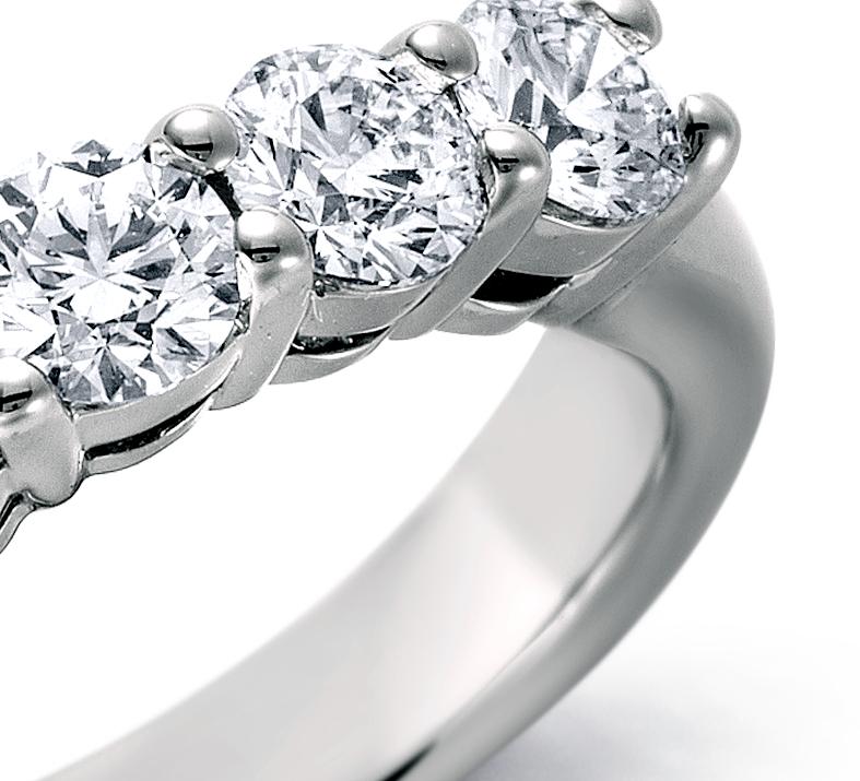 Blue Nile Signature Five Stone Diamond Ring in Platinum
