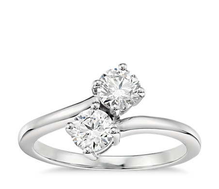 a round half ring two diamond cut tone engagement wedding bezel rings