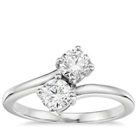Blue Nile Signature Two-Stone Diamond Ring in Platinum (4/5 ct. tw.)