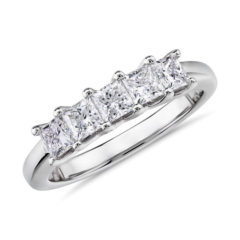 Blue Nile Signature Five-Stone Princess-Cut Diamond Ring in Plati