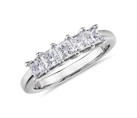 Blue Nile Signature Five-Stone Princess-Cut Diamond Ring in Platinum (1 ct. tw.)