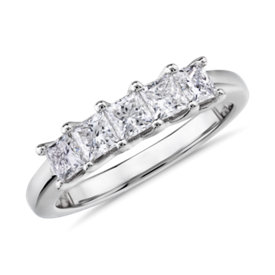 NEW Blue Nile Signature Five-Stone Princess-Cut Diamond Ring in Platinum (1 ct. tw.)