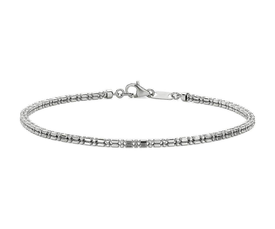 Bead Link Bracelet in Platinum