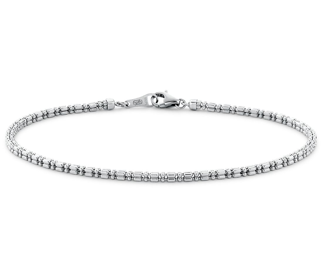 Bead Link Bracelet in Platinum