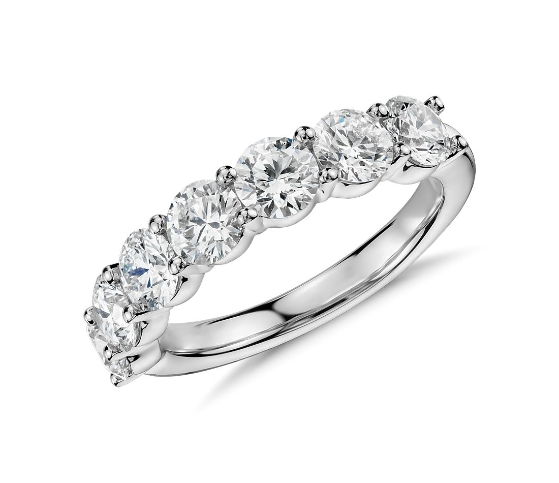 Blue Nile Signature Comfort Fit Seven Stone Diamond Ring in Platinum