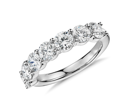 Blue Nile Signature Comfort Fit Seven Stone Diamond Ring in Platinum (2 ct. tw.)