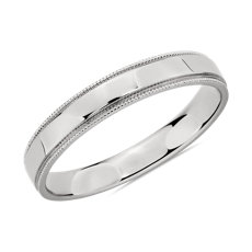 Milgrain Polished Male Ring in Platinum (3mm)