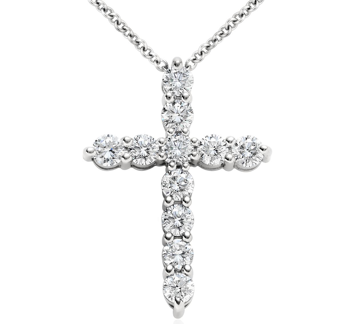 Pendentif croix diamant en platine (1carat, poids total)