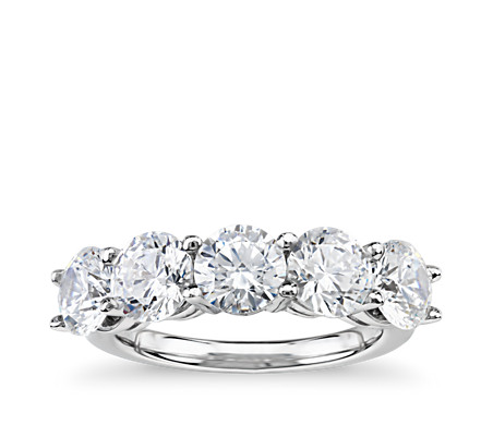 Classic Five-Stone Diamond Ring in Platinum