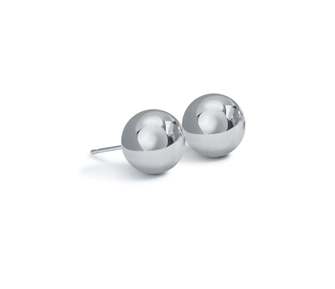 Ball Stud Earrings in Platinum (6mm)