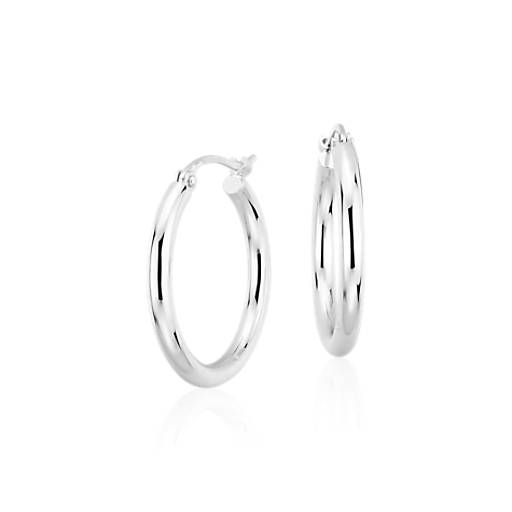 Small Hoop Earrings In Platinum 3 4