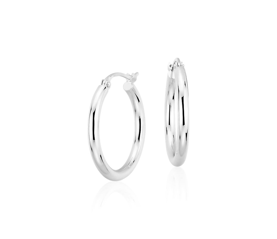 "Small Hoop Earrings in Platinum (3/4"")"