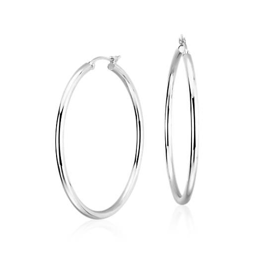 Large Hoop Earrings In Platinum 1 1 2 Quot Blue Nile