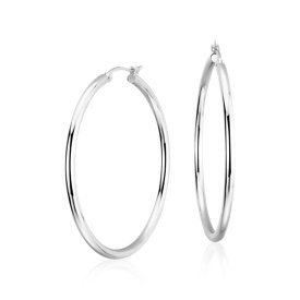 "Large Hoop Earrings in Platinum (1 1/2"")"
