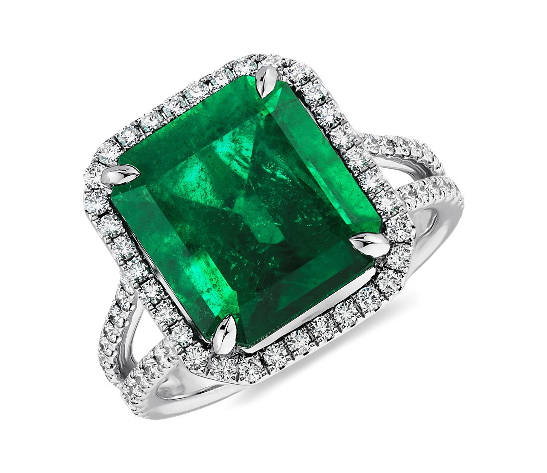 Emerald Cut Emerald And Micropavé Diamond Ring In Platinum