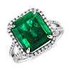 Bague en diamants sertis micro-pavé et émeraude taille émeraude en platine (6.28 ct.)
