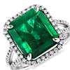 Emerald Cut Emerald and Micropavé Diamond Ring in Platinum (6.28 ct.)