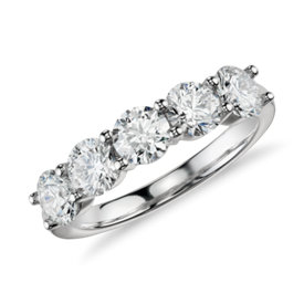Blue Nile Signature Comfort Fit Five Stone Diamond Ring in Platinum (2 ct. tw.)
