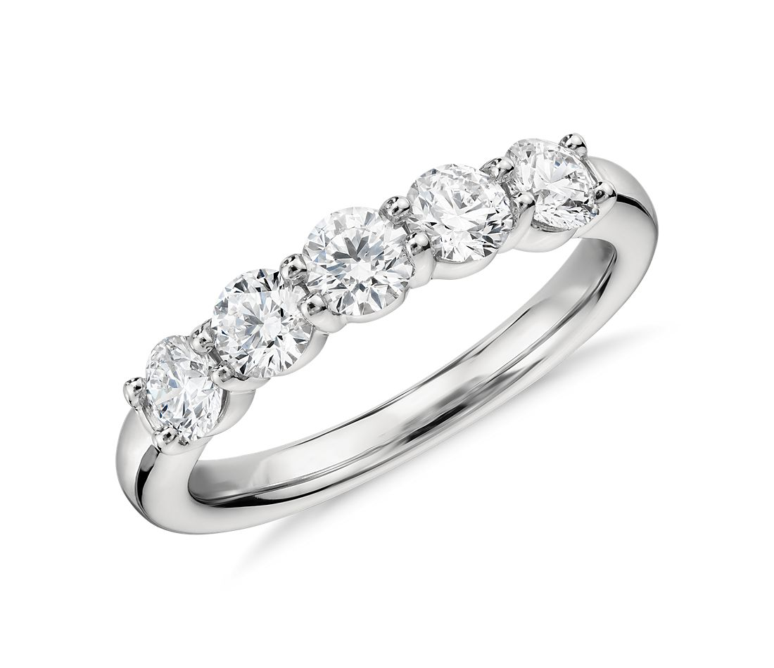 Blue Nile Signature Comfort Fit Five Stone Diamond Ring in Platinum