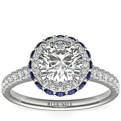 铂金隐藏设计蓝宝石光环钻石订婚戒指<br>(1/3 克拉总重量)