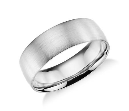 鉑金 啞光經典結婚戒指<br>( 7毫米)