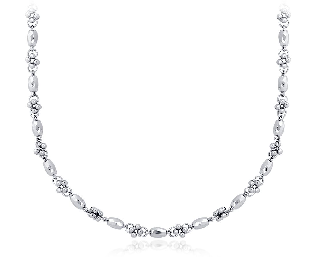 Faceted Cluster Necklace in Platinum