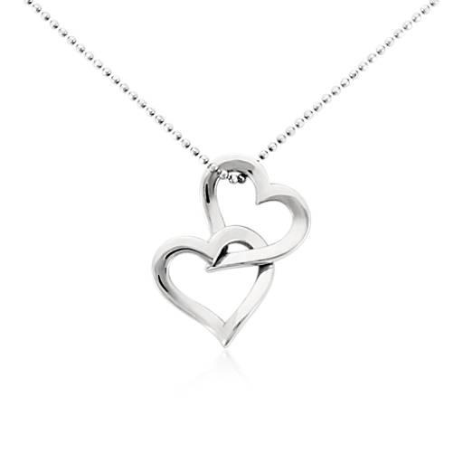 Double Heart Pendant In Platinum Blue Nile