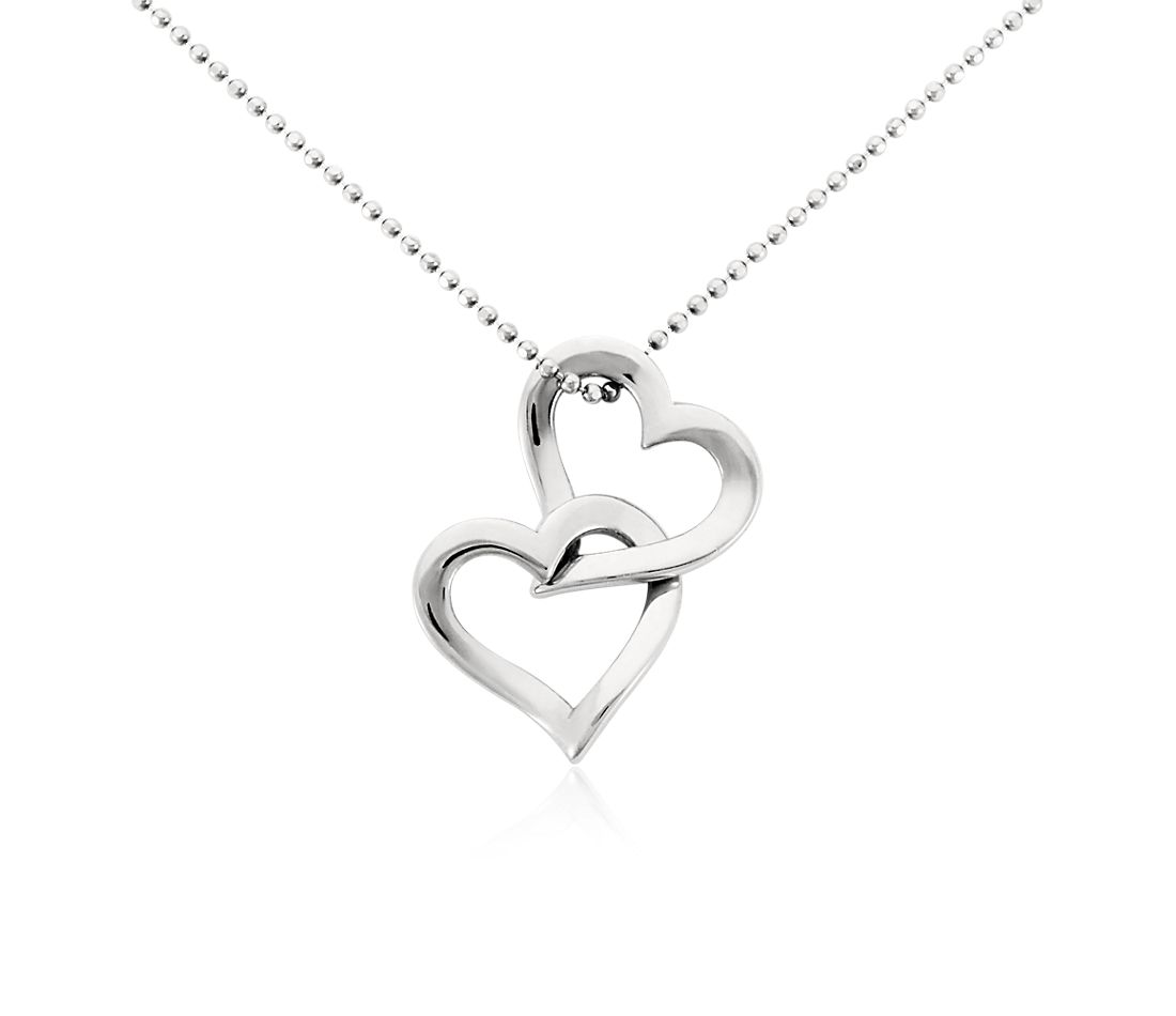 3904e08cc1b2e Double Heart Pendant in Platinum