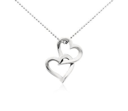 Double Heart Pendant in Platinum