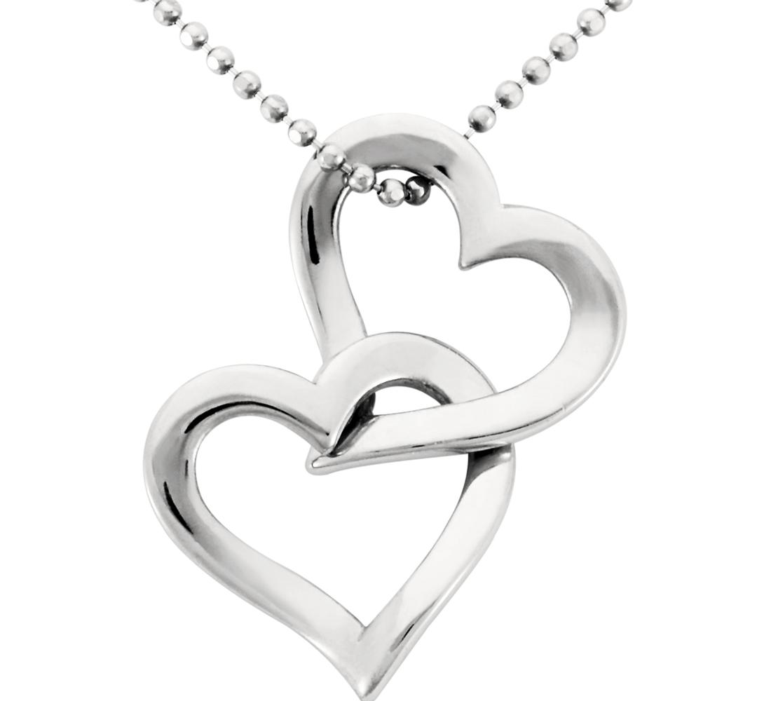 Colgante con dos corazones en platino