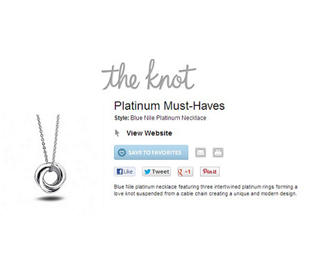 Love Knot Pendant in Platinum featured in The Knot