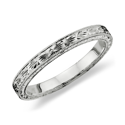 HandEngraved Wedding Ring in Platinum Blue Nile