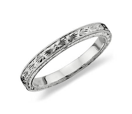 antique vintage for women engraved womens bands etched rings wedding band scroll heirloom collections platinum large s size