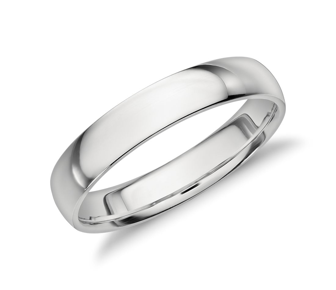 mid weight comfort fit wedding band in platinum 4mm - Platinum Wedding Rings