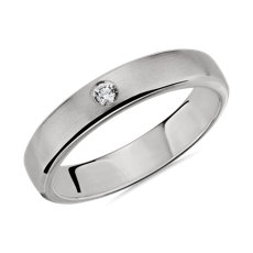 NEW Brushed Single Diamond Wedding Ring in 14k White Gold (4.5mm)