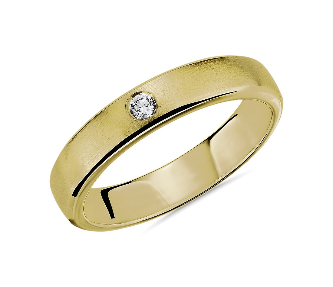Brushed Single Diamond Wedding Ring in 14k Yellow Gold (4.5mm)